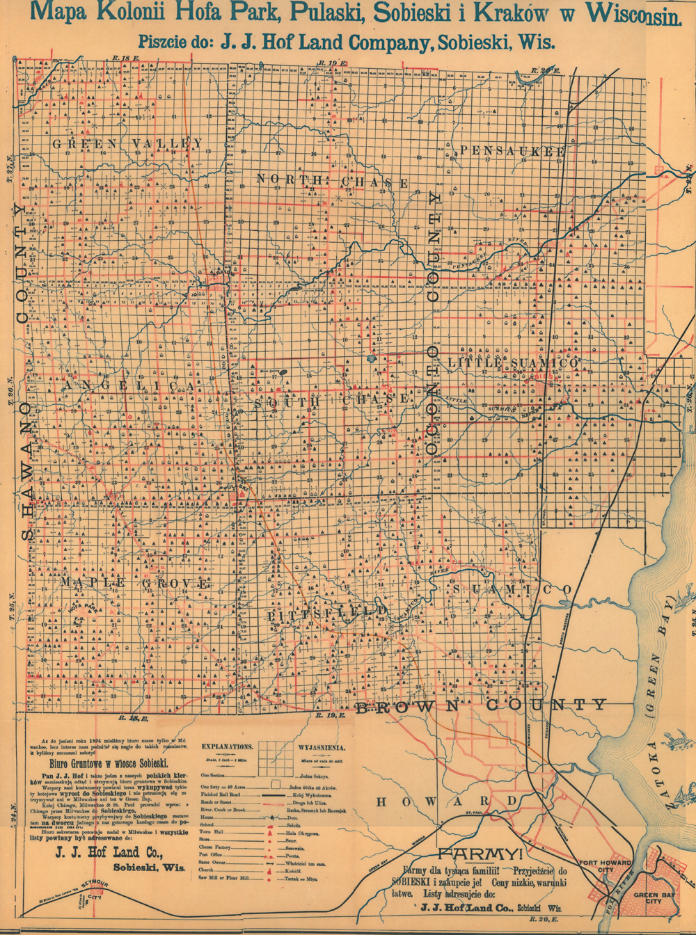 Old map of Pulaski Wisconsin