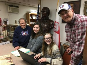 PHS students work on cataloging at the Pulaski Area Historical Museum.