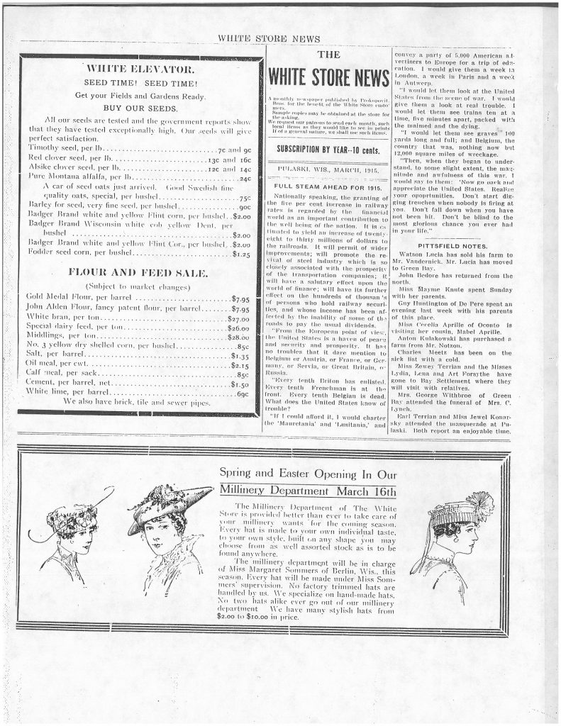 White Elevator Ad, Millinery Department Ad, White Store News