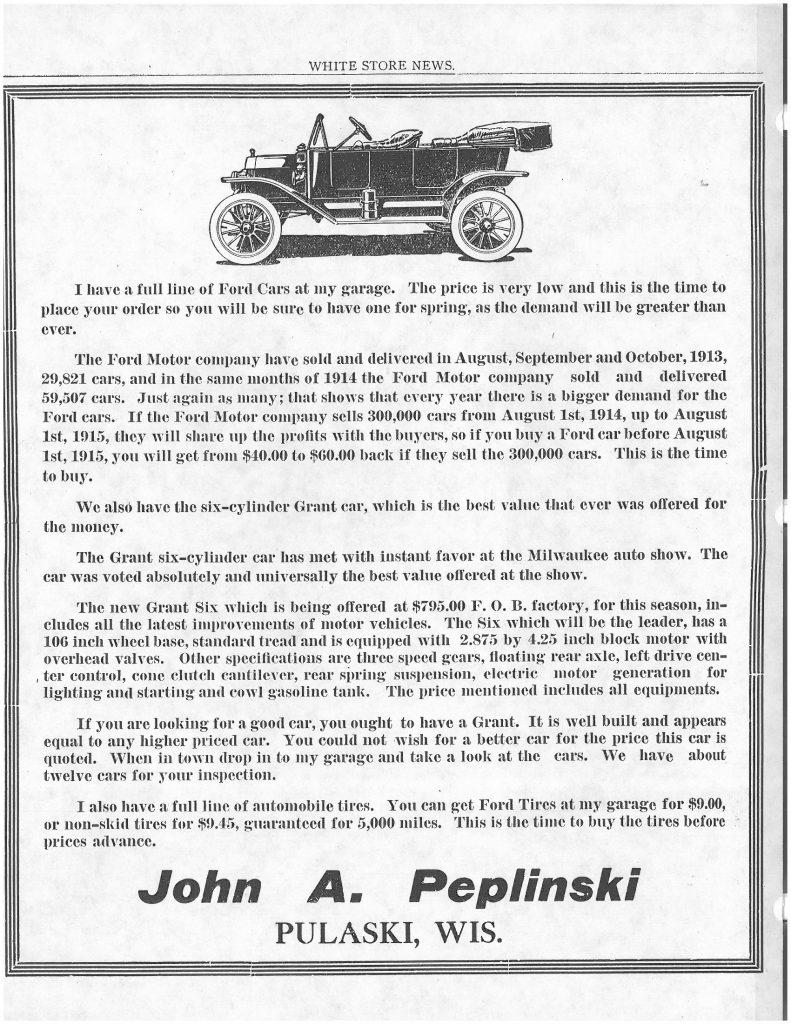 White Store Ad, John A Peplinski